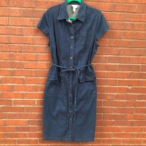 Talbots Denim Jean Shirt Button Front Dress 14